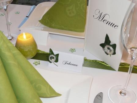 Mustertisch in GRÜN von Tischdeko-online - Hochzeitsdeko, Gastgeschenke