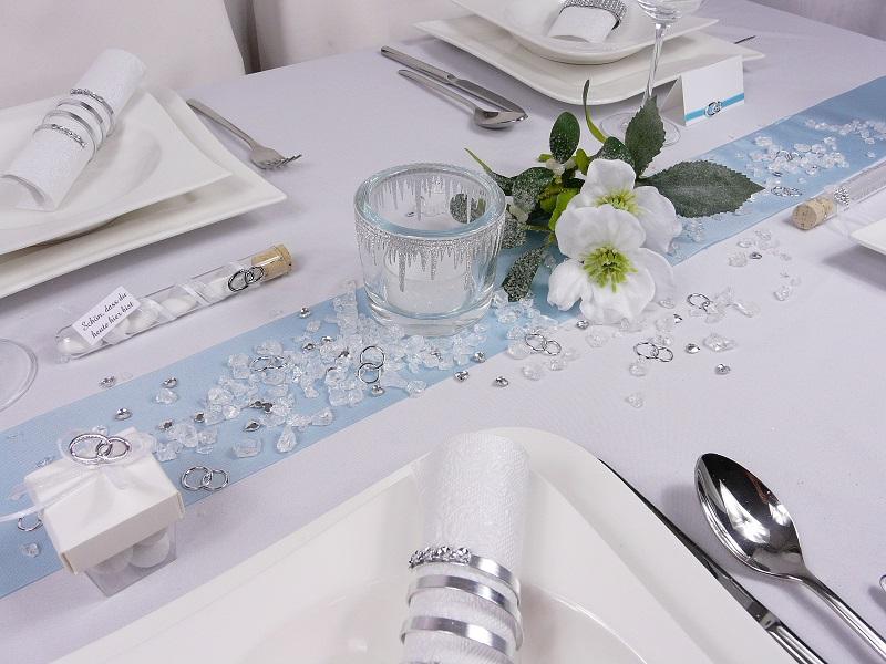 Tischdeko weihnachten silber blau  Mustertische zur Winterhochzeit. Hochzeitsdeko - Tischdeko