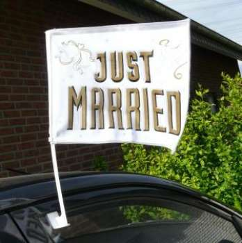 "Hochzeitsdekoration - ""Just Married"" - Autofahne"