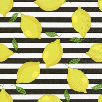 "Servietten ""Lemons on stripes"" - Zitronen"