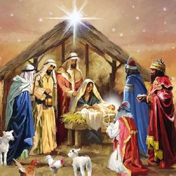 Weihnachtsserviette Nativity Collage mit Krippe