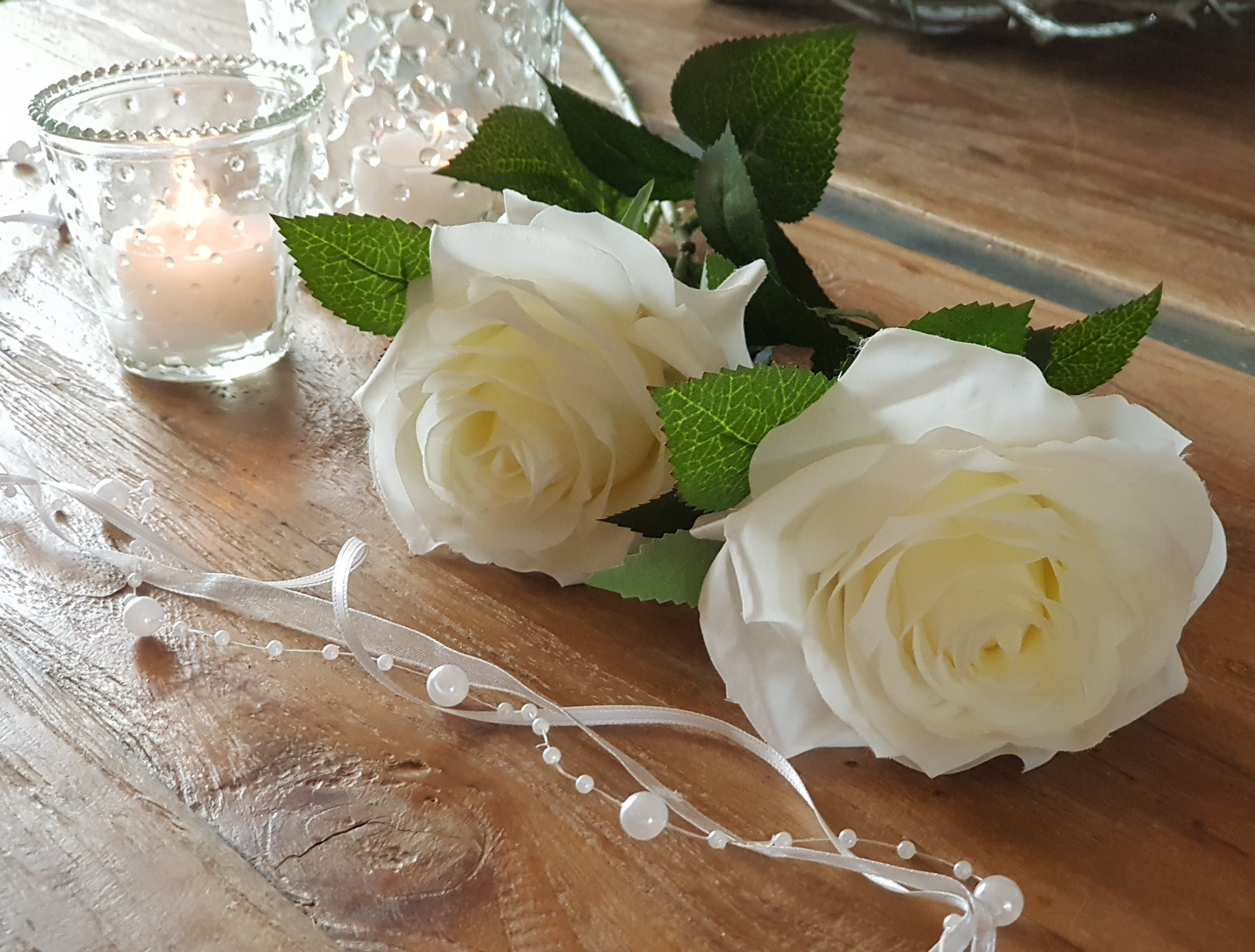 1m Perlengirlande Schleifenband Perlen weiß Hochzeit Perlen Perle Perlenband
