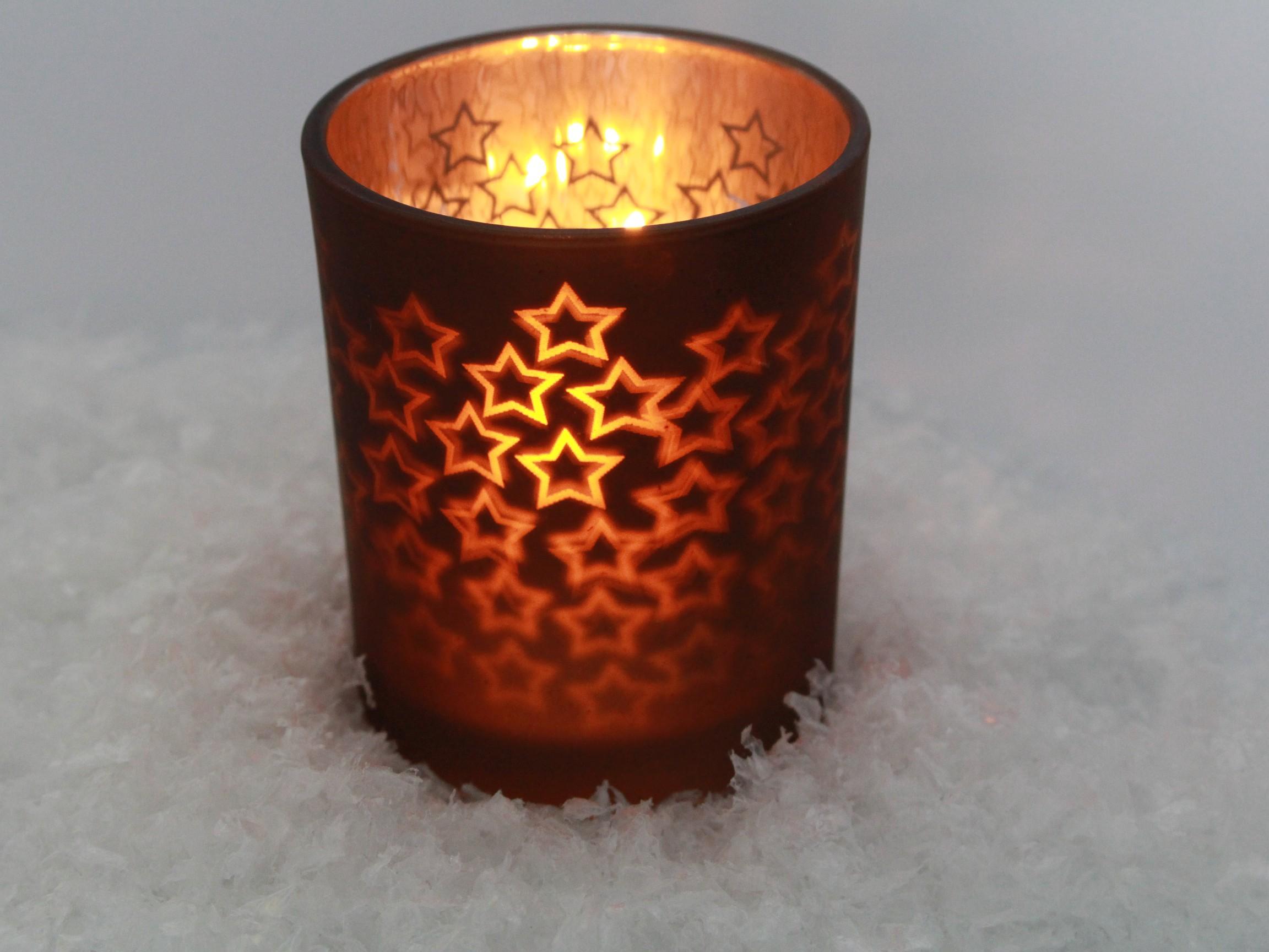 Windlicht Braun Bronze Mit Sternen Zur Weihnachtsdeko