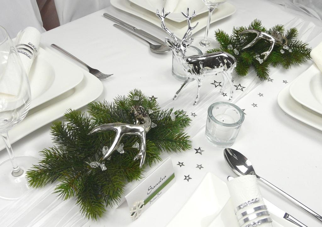tischdekoration hirschgeweih in der farbe silber mit schlaufe. Black Bedroom Furniture Sets. Home Design Ideas