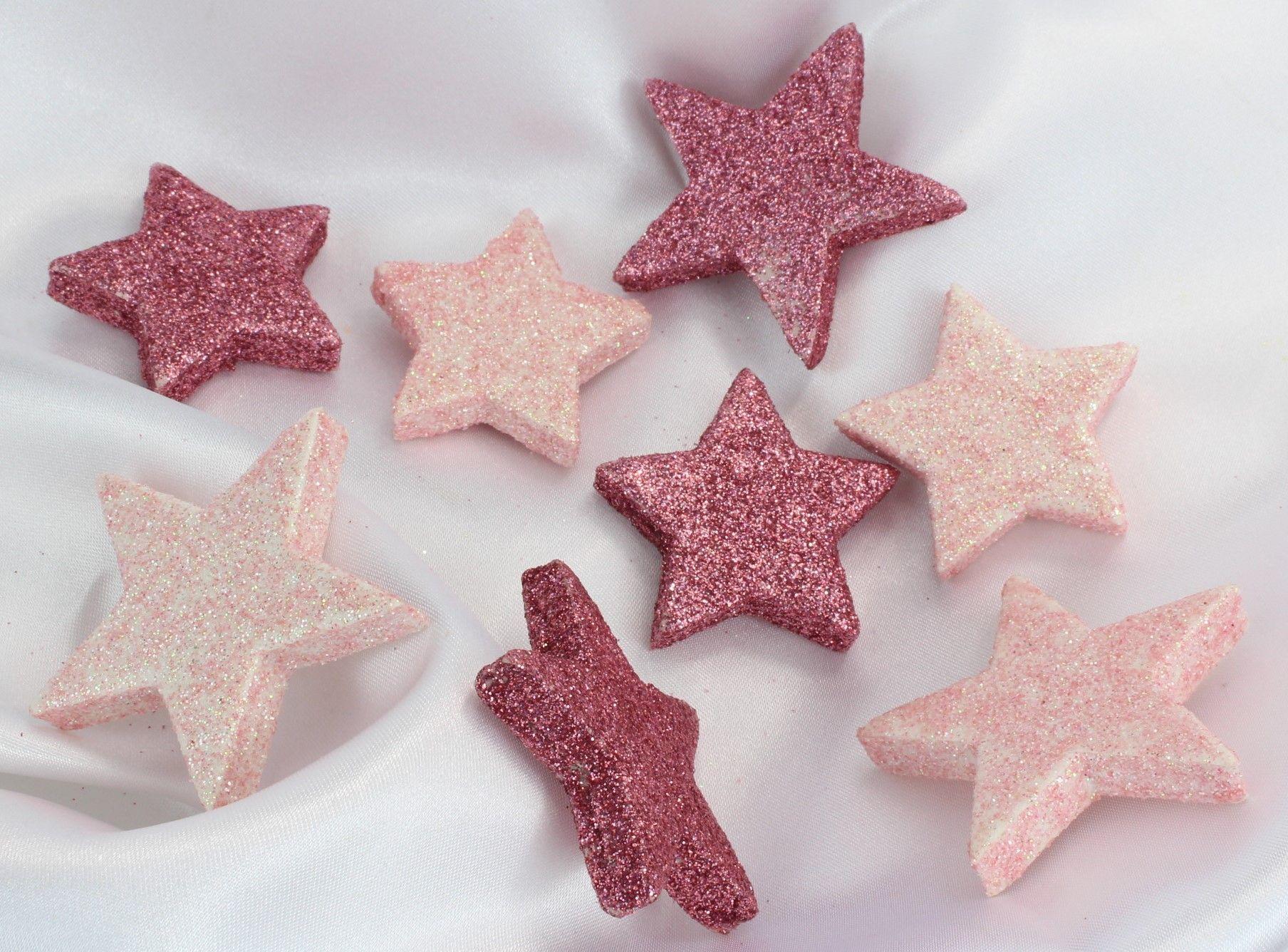 Rosa Weihnachtsdeko.Weihnachtsdeko 8 Glitzersterne In Hellrosa Oder Dunkelrosa Streudeko