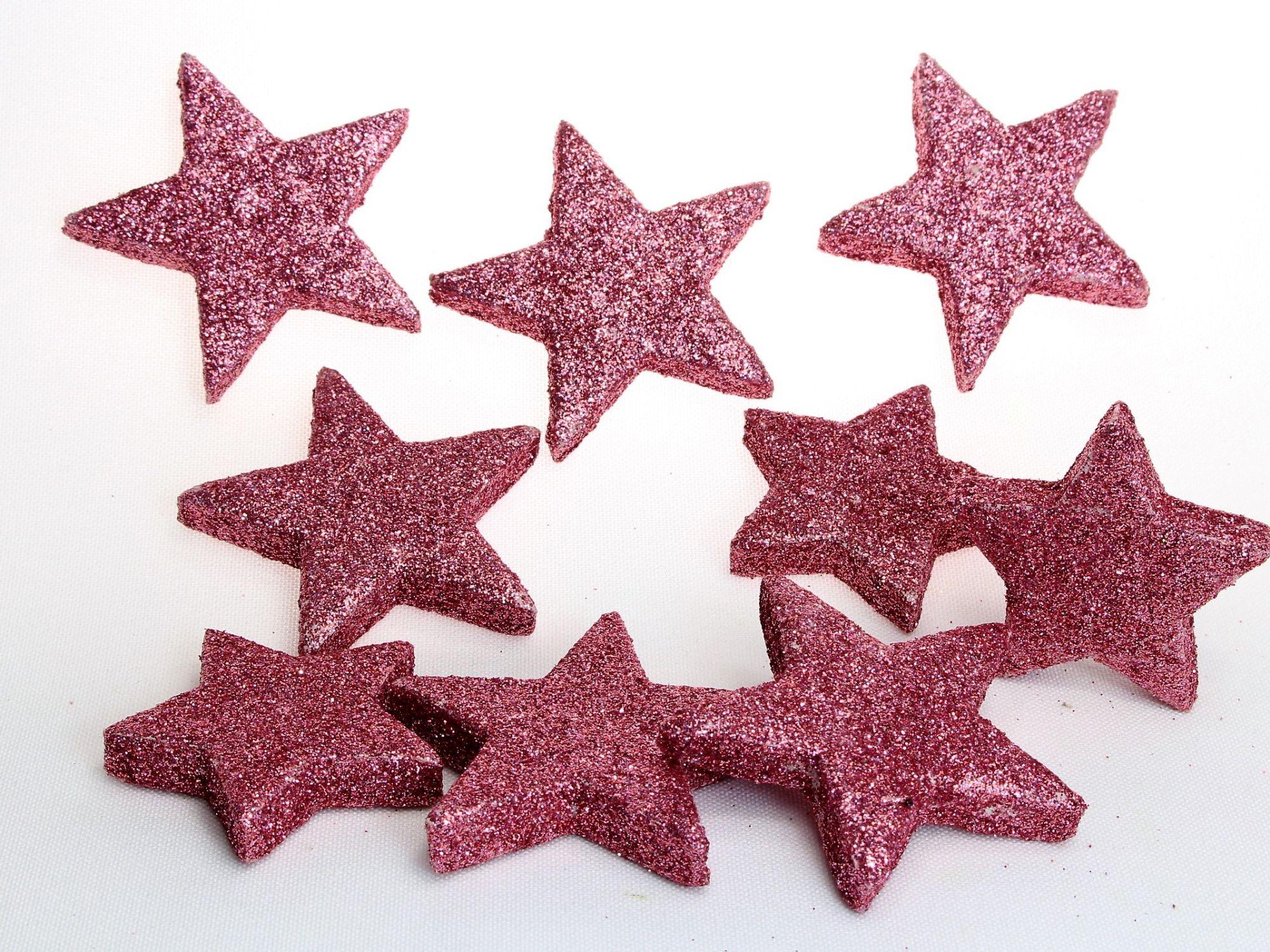Weihnachtsdeko 8 Glitzersterne In Hellrosa Oder Dunkelrosa Streudeko