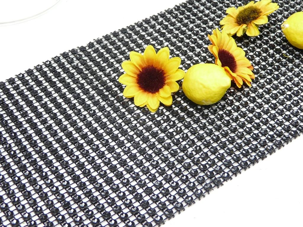 tischband schwarzes band in strassoptik strassband. Black Bedroom Furniture Sets. Home Design Ideas