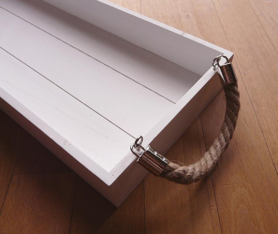 Tischdekoration Grosses Holztablett Weiss Tischdeko