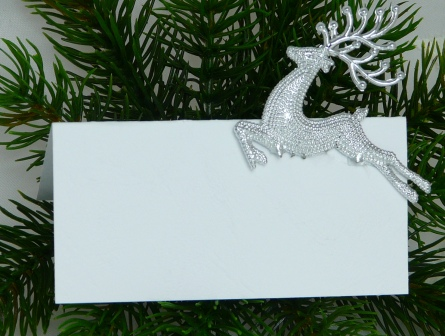 Tischkarte silberner hirsch zu weihnachten die adventszeit for Silberner hirsch
