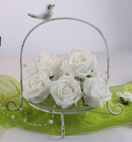 Wei e etagere aus metall mit einem glasteller for Weisse dekoartikel
